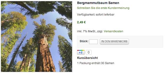 Google +1 bei MammutbaumSamen.de